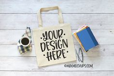 Canvas tote bag mockup, books and coffee theme Max Mock Ups Tools and Elements Mock ups Coffee Theme, Bag Mockup, Cell Phone Covers, Business Card Mock Up, School Design, Canvas Tote Bags, Design Bundles, Reusable Tote Bags, Crowd
