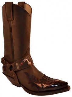 3700 Cuervo Florentic Fuchsia-Mad Dog Chocolate | Sendra unisex combined brown leather cowboy boots with harness 210 €