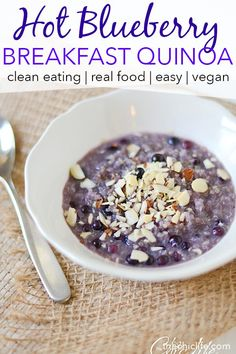 Cozy up to this bowl of hot blueberry quinoa for a clean eating breakfast recipe you'll love. This real food recipe is so easy, healthy, and delicious. Great for both busy weekdays and relaxed weekends. #recipe #healthy #healthyrecipes #cleaneating #recipe #realfood #vegan #vegetarian