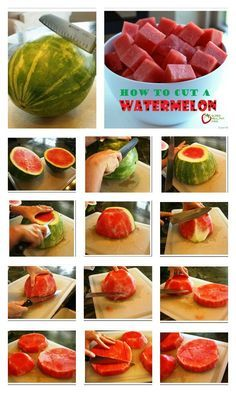 The Best Way to Cut a Watermelon - Hate the mess of cutting a watermelon? Try our method next time! Watermelon Uses, Cutting A Watermelon, Fruit Recipes, Healthy Recipes, Recipies, Cooking Tips, Cooking Recipes, Food Tips, Clean Eating