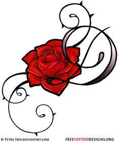 Feminine tribal rose tattoo design