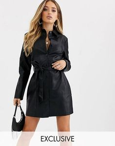 Buy Boohoo exclusive leather look shirt dress in black at ASOS. With free delivery and return options (Ts&Cs apply), online shopping has never been so easy. Get the latest trends with ASOS now. Work Fashion, Latest Fashion Clothes, Latest Fashion Trends, Going Out Outfits, Going Out Dresses, Night Out Outfit, Leather Dresses, Latest Dress, Dress Outfits