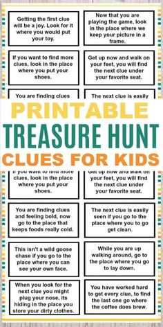 These printable treasure hunt clues for kids are a fun and easy kids activity. T… These printable treasure hunt clues for kids are a fun and easy kids activity. The clues are great for any family to use for a fun family activity. Kids Scavenger Hunt Clues, Easter Scavenger Hunt, Scavenger Hunt Birthday, Christmas Scavenger Hunt, Kid Scavenger Hunts, Kindergarten Scavenger Hunt, Halloween Scavenger Hunt, Photo Scavenger Hunt, Family Activities