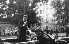 President John F. Kennedy waves to the crowd gathered along South Temple during his visit to Salt Lake City in 1963. Photo Courtesy Utah State Historical Society