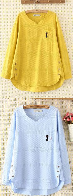 Embroidery Cat Hollow Out Loose Cotton Shirt for Women