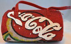 Coca Cola Purse Red Bead Handbag 4 1/4 in x 9 in x 5 in w/o strap dims #CocoCola #ShoulderBag