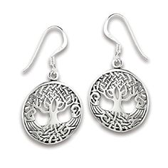 .925 Sterling Silver Domed Celtic Tree of Life Dangle French Wire Earrings >>> You can find more details by visiting the image link.