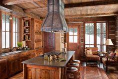 ~ Living a Beautiful Life ~ Moonlight Basin - Interior Küchen Design, Design Case, House Design, Door Design, Interior Design, Cabin Homes, Log Homes, Moonlight Basin, Log Home Kitchens