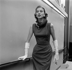 Model Suzy Parker wearing Balenciaga,and photographed for Life Magazine in Paris during the fashion shows of French Fashion for Autumn/Winter 1956/57.Life Magazine,August 1956.
