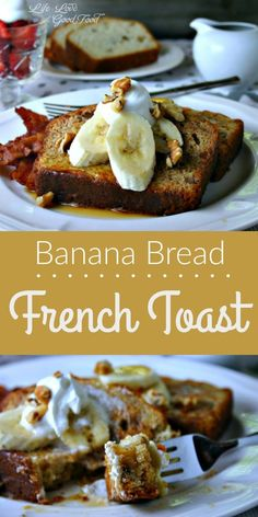 Banana Bread French Toast recipe from Life, Love, and Good Food! Best French Toast Ever! Breakfast Toast, Breakfast Casserole, Best Breakfast, Banana Bread French Toast, Best French Toast, Cinnamon French Toast, Bread Toast, Cinnamon Bread, Tostadas