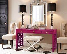 Entryway idea - bright table (green?), a mirror, and two chairs