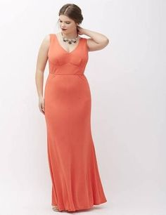 f30585fc954 Lane Bryant Plus Size Sleeveless V-Neck Gown By Abs Allen Schwartz