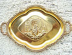 Small Vintage French Catholic Icon Handled Tray Virgin Mary Jesus (Image1) Shabby small vintage Catholic Icon tray featuring the Blessed Mother Virgin Mary and the Child Jesus as Our lady of the Pillar. Unmarked, from France. gold tone metal.