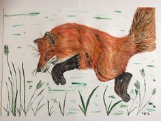 Original Watercolour of Pouncing Fox 50cm x 70cm