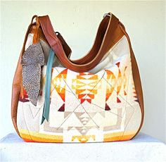 XL Muriel///Vintage Native Pendleton with Camel and Embossed Yellow Leather and Two-Way Strap