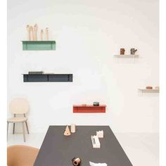 Brackets included shelf is a pressed steel panel with a bracket feature thats adds strength and stability. Wall Mounted Shelves, Shelf, Welded Furniture, Hay Design, Steel Panels, Desk Storage, Steel Wall, Wall Hanger, Ping Pong Table
