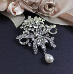 Bridal Brooch, Swarovski Wedding Dress Brooch, Victorian Wedding Dress Sash Pin. $57.00, via Etsy.