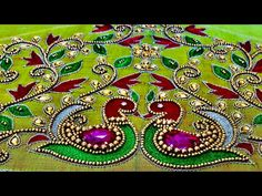 Here's a very short video about a grand elbow sleeve blouse designed with aari embroidery techniques. Peacock Blouse Designs, Peacock Embroidery Designs, Cutwork Blouse Designs, Wedding Saree Blouse Designs, Simple Blouse Designs, Hand Embroidery Videos, Hand Work Embroidery, Mirror Work Blouse Design, Maggam Work Designs