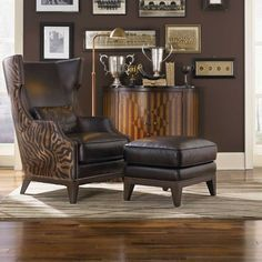 Simon Li Forbes Accent Chair and Ottoman in Leather Tobacco/Serengeti