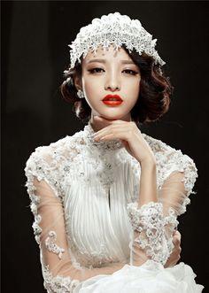 呼和浩特婚紗照手推波紋打造復古俏麗新娘