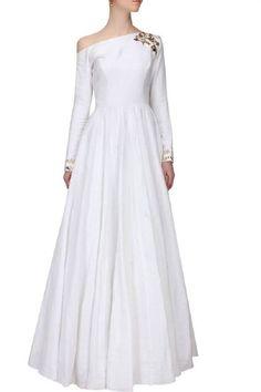 Ramdaan Special FatimaBi Plus size Indian White Silk Floor length Style Dresses #FatimaBi #AnarkaliKameez