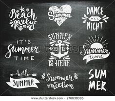 A set of chalkboard style typographic summer designs. Hand drawn calligraphic design templates. Summer season logos, posters, t-shirt, flyer, apparel designs.