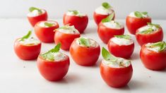No-cook finger food at its finest! Sweet Campari tomatoes are stuffed with rich, creamy burrata and finished with fresh basil. Martha Stewart, Appetizer Dips, Appetizer Recipes, Tomato Appetizers, Savoury Recipes, Burrata Cheese, Quark Cheese, Bite Size Snacks, Tomato And Cheese