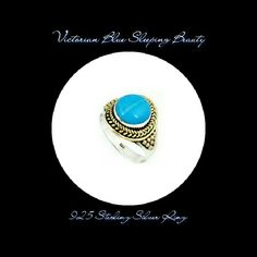 ⚡TEMP  SLASH⚡  VICTORIAN  SLPNG BEAUTY TURQ RING  VICTORIAN BLUE SLEEPING BEAUTY TURQUOISE RING 2 TONE STERLING SILVER (& GOLD COLOR) Metal Type.             925 Sterling Silver Stone.                       Sleeping Beauty Turquoise Stone Wt.                 4.65 Wt.                             4.19 GM Head sz.                  16*20 mm RING Size.               8  Beautiful Blue Color Turquoise to wear or give as a gift to someone special! Jewelry Rings