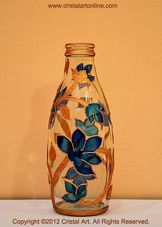 An Exquisite Collection of Handmade Glass Paintings for Home/Office Decor Glass Painting Patterns, Painting Glass Jars, Painted Glass Bottles, Glass Painting Designs, Pottery Painting Designs, Painted Vases, Bottle Painting, Glass Art, Liquor Bottle Crafts