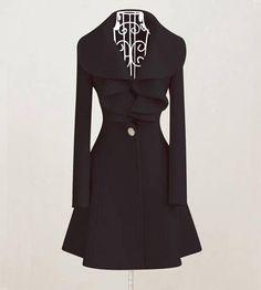 Elegant Slim Fit Falbaba Wool Long Dress Coat