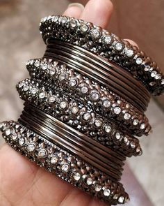 Oxidised black metal bangles are all in trend now ❤️😍 ❤️❤️ . - Oxidised black metal bangles are all in trend now ❤️😍 ❤️❤️ . Indian Jewelry Earrings, Indian Jewelry Sets, Silver Jewellery Indian, Jewelry Design Earrings, Silver Jewelry, Jewellery Box, Silver Rings, Indian Bangles, Egyptian Jewelry