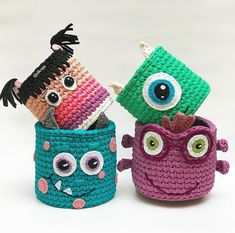 Crochet Storage, Crochet Box, Crochet Basket Pattern, Knit Basket, Crochet Dolls, Crochet Patterns, Yarn Projects, Crochet Projects, Crochet Keychain