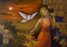 Original contemporary art , oil  painting. Woman and dove. Surreal painting. Free shipping,  anywhere in the world. ! Color, blue red gold.