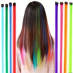 Fantastic High Quality Styling Hairdressers Set Kit With Party Fake Synthetic Hair Pieces / Long Clip On Extensions With Iron Pins And In 12 Different Colors By VAGA Rainbow Hair Extensions, Colored Hair Extensions, Fake Hair Braids, Girl Hairstyles, Braided Hairstyles, Baby Alive Doll Clothes, Unicorn Fashion, Hair Kit, Little Girl Toys