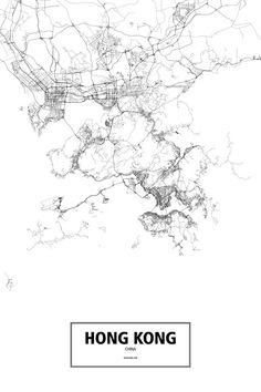 Hong Kong, China poster - Routelines: detailed posters and prints of cities and their roads