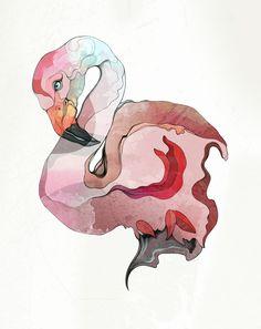 Art and Illustration by ZSO - Koko Flamingo Illustration Pen And Ink, Flamingo Illustration, Flamingo Art, Pink Flamingos, Claude Monet, Vincent Van Gogh, Art Techniques, Painting Inspiration, Art Tutorials