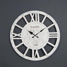 Drewniany zegar ścienny, styl rustykalny. | Kolory \ Biały Meble \ Pozostałe Style Serie \ Styl rustykalny Dodatki \ Zegary Wszystkie produkty | Impresje24.pl