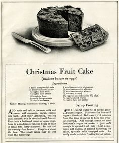 I enjoy cooking and baking but I've never tried baking an authentic Christmas fruit cake. Maybe someday? If I do, it will only be to say I did – but don't hold your breath. Retro Recipes, Vintage Recipes, Christmas Treats, Christmas Baking, Christmas Fruitcake, Christmas Cakes, Holiday Baking, Cakes Without Butter, Egg Ingredients