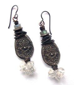Rustic Bohemian Earrings, Pewter Labradorite & Crystal Quartz Earrings, Boho Chic Style Earrings, Natural Stones and Niobium Earrings
