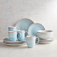 Shoreline Green Reactive Dinnerware, Set Of 16 Farmhouse Dinnerware, Stoneware Dinnerware Sets, Blue Dinnerware, Tableware, Contemporary Dinnerware, Dinner Plate Sets, Dinner Plates, Plates And Bowls, Salad Plates