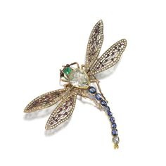 cartier botanical and insect brooches | diamond ruby sapphire and emerald dragonfly brooch gold and citrine