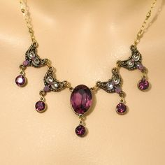 Anne Koplik Designs: Gold & Amethyst Necklace with a Crystal Drop