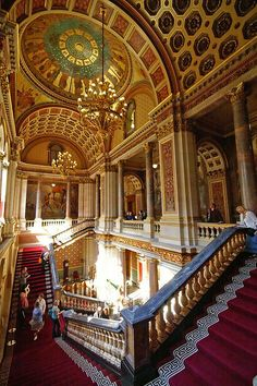 The Foreign Office ~ Grand Staircase, Whitehall, London, England Layout, False Ceiling Living Room, Ceiling Detail, Hall Design, False Ceiling Design, Stairway To Heaven, Grand Staircase, Restaurant, Arquitetura