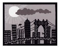 Umbrellas Fly in NY - Cut Paper Art Print