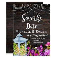 #Rustic Succulent Cactus Wood Floral Save the Date Card - #savethedate #wedding #love #card #cards #invite #invitation