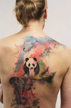"Love the colors and tat layout""Abstract Animals Back Tattoo"" Trendy Tattoos, Love Tattoos, Unique Tattoos, Beautiful Tattoos, Picture Tattoos, Small Tattoos, Tatoos, Tattoo Son, Back Tattoo"