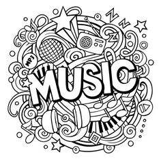 Cartoon cute doodles music word line stock vector (royalty free Doodle Art Letters, Cute Doodle Art, Doodle Art Designs, Doodle Art Drawing, Mandala Drawing, Cute Doodles, Easy Doodles Drawings, Cool Art Drawings, Art Drawings Sketches