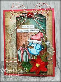 What is better than a Tim Holtz tag? A Tim Holtz tag turned in to a card! DTer Mitsyana Wright of Up On Tippy Toes created this fun crazy birds project and shares a tutorial on her blog today: http://www.upontippytoes.com/2016/12/bird-crazy-tag-card-christmas-edition.html