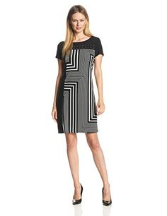 Calvin Klein Women's Print Dress with Studs Casual Dresses, Dresses For Work, Calvin Klein Women, Night Out, Classy, Elegant, My Style, Studs, Clothes