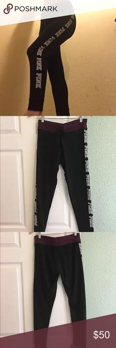 Victoria Secret Pink Campus Leggings M Great Condition logo are cracked on some parts PINK Victoria's Secret Pants Leggings